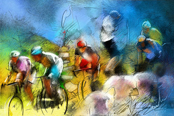 acquarello ciclisti